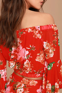 Naturally Charming Red Floral Print Off-the-Shoulder Crop Top 6