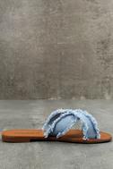 Cascara Blue Denim Slide Sandals 4