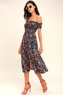 View from the Meadow Black Floral Print Off-the-Shoulder Dress 2