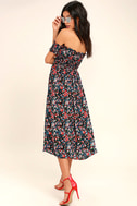 View from the Meadow Black Floral Print Off-the-Shoulder Dress 3