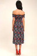 View from the Meadow Black Floral Print Off-the-Shoulder Dress 4