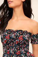 View from the Meadow Black Floral Print Off-the-Shoulder Dress 5