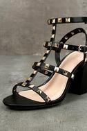 Phedra Black Studded Ankle Strap Heels 6