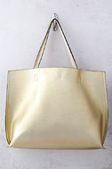 Stuff of Dreams Peach and Gold Reversible Tote 1