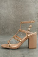 Phedra Natural Studded Ankle Strap Heels 2
