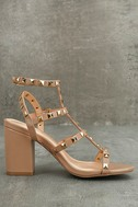 Phedra Natural Studded Ankle Strap Heels 4