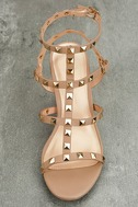 Phedra Natural Studded Ankle Strap Heels 5