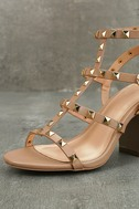 Phedra Natural Studded Ankle Strap Heels 6
