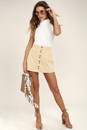 Made with Moxie Beige Corduroy Mini Skirt 2