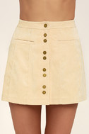 Made with Moxie Beige Corduroy Mini Skirt 4