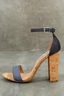 Steve Madden Carson C Denim Cork Ankle Strap Heels 1