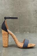 Steve Madden Carson C Denim Cork Ankle Strap Heels 5
