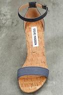 Steve Madden Carson C Denim Cork Ankle Strap Heels 6