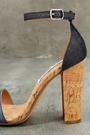 Steve Madden Carson C Denim Cork Ankle Strap Heels 8