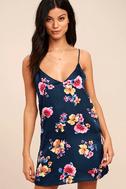 Love Me Sweet Navy Blue Floral Print Shift Dress 2