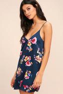 Love Me Sweet Navy Blue Floral Print Shift Dress 3