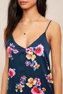 Love Me Sweet Navy Blue Floral Print Shift Dress 5