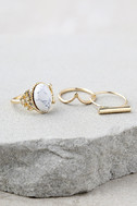 Study the Stars Gold and White Ring Set 2