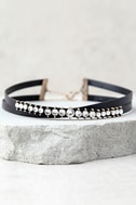 Viveka Black and Gold Rhinestone Choker Necklace 2