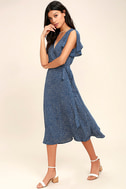 Gimme Your Love Navy Blue Polka Dot Wrap Dress 2