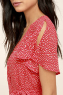 Gimme Your Love Red Polka Dot Wrap Dress 5