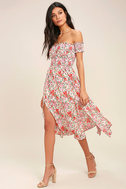 View from the Meadow Cream Floral Print Off-the-Shoulder Dress 2