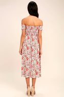View from the Meadow Cream Floral Print Off-the-Shoulder Dress 4