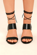 Salome Black Leather Lace-Up Heels 2