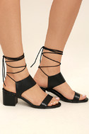 Salome Black Leather Lace-Up Heels 3