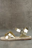 Glamorous Sunny Gold Espadrille Flat Sandals 1