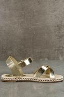 Glamorous Sunny Gold Espadrille Flat Sandals 4