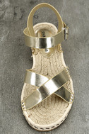 Glamorous Sunny Gold Espadrille Flat Sandals 5