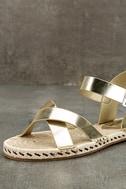 Glamorous Sunny Gold Espadrille Flat Sandals 6