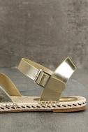 Glamorous Sunny Gold Espadrille Flat Sandals 7