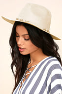 What I Like Light Beige Suede Fedora Hat 1