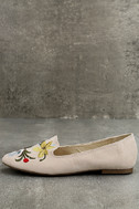 Arvida Nude Suede Embroidered Loafer Flats 1