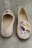Arvida Nude Suede Embroidered Loafer Flats 3