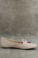 Arvida Nude Suede Embroidered Loafer Flats 4