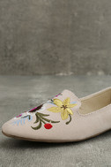 Arvida Nude Suede Embroidered Loafer Flats 6