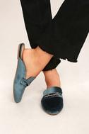 Nyssa Blue Velvet Loafer Slides 1