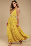 This is Love Mustard Yellow Lace Maxi Dress 2