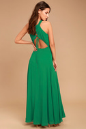 Super Starlet Green Lace-Up Maxi Dress 1