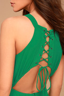 Super Starlet Green Lace-Up Maxi Dress 5