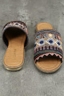 Kamala Black Embroidered Slide Sandals 3