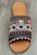 Kamala Black Embroidered Slide Sandals 5