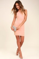Endlessly Alluring Light Pink Lace Bodycon Dress 2