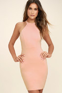 Endlessly Alluring Light Pink Lace Bodycon Dress 3