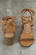 Madden Girl Leexi Chestnut Suede High Heel Sandals 3