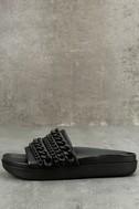 Kendall + Kylie Shiloh Black Leather Slide Sandals 1