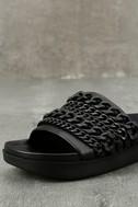 Kendall + Kylie Shiloh Black Leather Slide Sandals 6